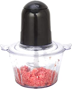 Mini Food Chopper Food Processor 200W 2L Stainless Steel Bowl 2 Speed Meat Grinder for Vegetables, Fruits, Cheese and Meat, Bi-Level Blades (Color : Black)