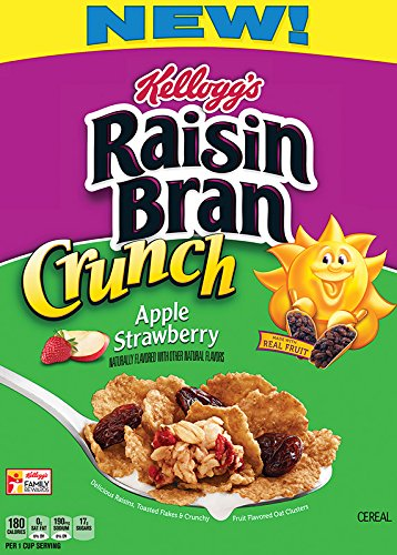 NEW! Kellogg's Raisin Bran Crunch Apple Strawberry 14.5 oz ( 2 Pack)
