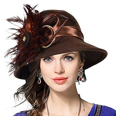 VECRY Women's Wool Church Dress Cloche Hat Plumy Felt Bucket Winter Hat