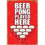 Aquarius Beer Pong Played Here Tin Sign