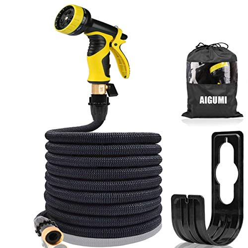 Garden Hose 50Ft Expanding Garden Water Hose Pipe High Pressure Expands 3X with 9 Function Spray Gun Easy Storage for All Uses (Black) by AOKUN