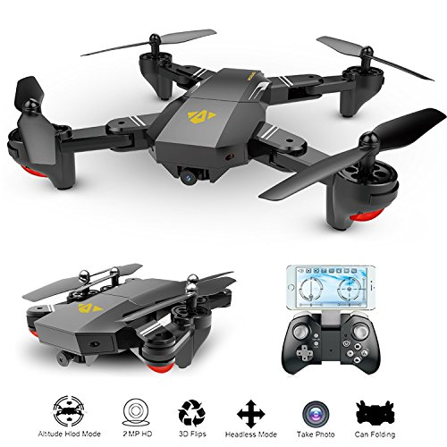 OKPOW 2MP 120 Wide Angle Selfie Drones 24G Foldable RC Quadcopter Wifi FPV Drone Altitude Hold 3D Flips Rolls 6 Axis Gyro Gravity Sensor RTF