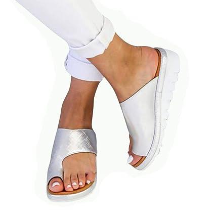 Augproveshak Sandalias de Mujer cómodos Plataformas Plana Cuero de PU Zapatillas Corrector de juanetes ortopédico Casuales