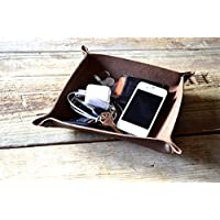 Handmade Leather Valet Tray - Choose From Chocolate Brown, Caramel Brown, of Black. Personalization Available.