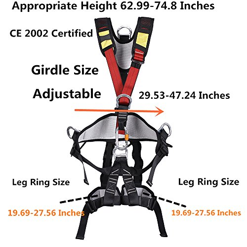 (Outdoor Professional Rock Climbing Full Body Safety Belt Harnesses Anti Fall Protective Gear Safe Seat Belts Outward Band Fire Rescue Safe Harness For Mountaineering Rappelling Equip XINDA)