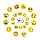 GEORLD Wafer Paper Edible Emoji Cupcake Topper Birthday Party Cake Decoration DIY Emoji Lollipop,36 Counts,Mixed by Two Size
