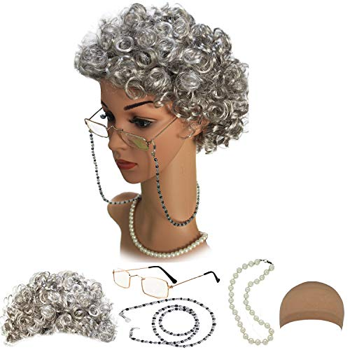 old woman wig with curlers - 1