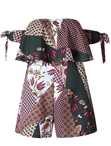 Arctic Cubic Short Sleeve Off The Shoulder Tie Ruffled Ruffle Hem Floral Colorblock Bodysuit Playsuit Romper Jumpsuit Shorts Coffee M