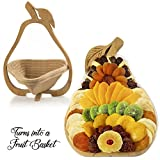 gift basket dried fruit - Large Premium Dried Fruit Gift Basket Pear Tray, Multi-Functional Foldable Tray, Trivet and Fruit Basket 31 OZ