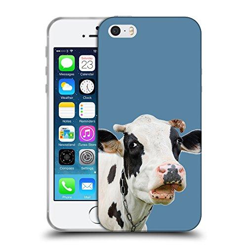 GoGoMobile Coque de Protection TPU Silicone Case pour // Q05710600 Vache curieuse Air Force Blue // Apple iPhone 5 5S 5G SE