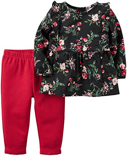 Carter's Baby Girls' 2 Piece Sets, Black Floral, 24 Months