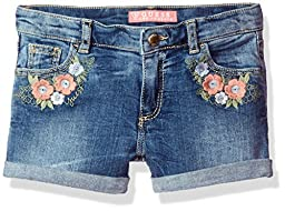 GUESS Little Girls\' Floral Embroidered Jean Shorts, Yreka Wash, 4