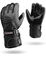 Winter Leather Motorbike Gloves Reflective Waterproof Padded Thermal