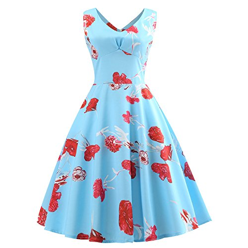Seaintheson Womens Dress, Women Vintage Sleeveless Sexy V Neck Floral Printing Mini Skirt Evening Party Prom Swing Dress -
