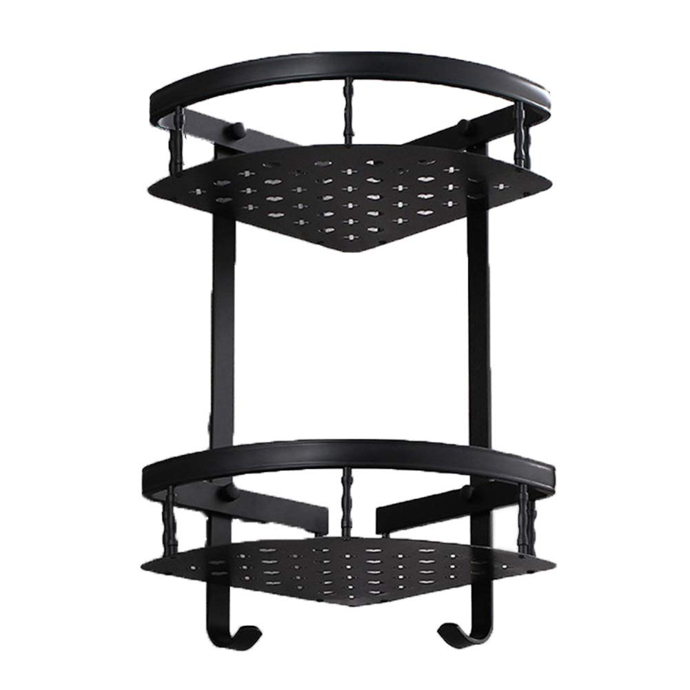 Space Aluminum Bathroom Shower Corner Rack Without Drill 15 Inch Black Ancient Double Aluminum Alloy Triangle Basket Rack with Two Hooks