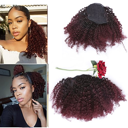 Beauty : Lacer Afro Kinky Curly Human Hair Ponytail Hair Extensions 4B 4C Coily Natural Remy Curly Clip in Ponytail Extension One Piece For Black Women 10-20 inch (12 inch, Ombre #1B/99J)