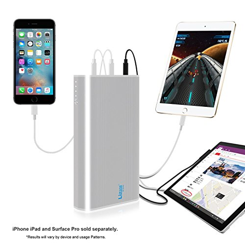 Lizone® QC 35000mAh 5-Ports Portable Charger Power Bank Charge for Apple new MacBook 12-inch Microsoft 12V Surface Pro3 Pro4 Surface Book, iPhone iPad Samsung and more - Silver