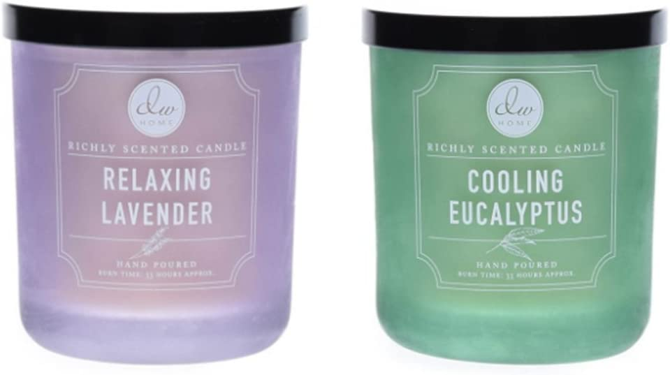 DW Home Relaxing Lavender & Cooling Eucalyptus Candle Gift Set for Stress Relief and Calming Relaxation