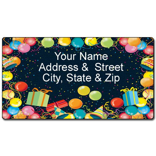 Party Address Label - Customized Return Address Label - 90 Labels - Party Hats & Balloons