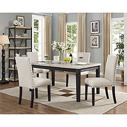 Picket House Furnishings Bradley 5 Piece Marble Top Dining Set