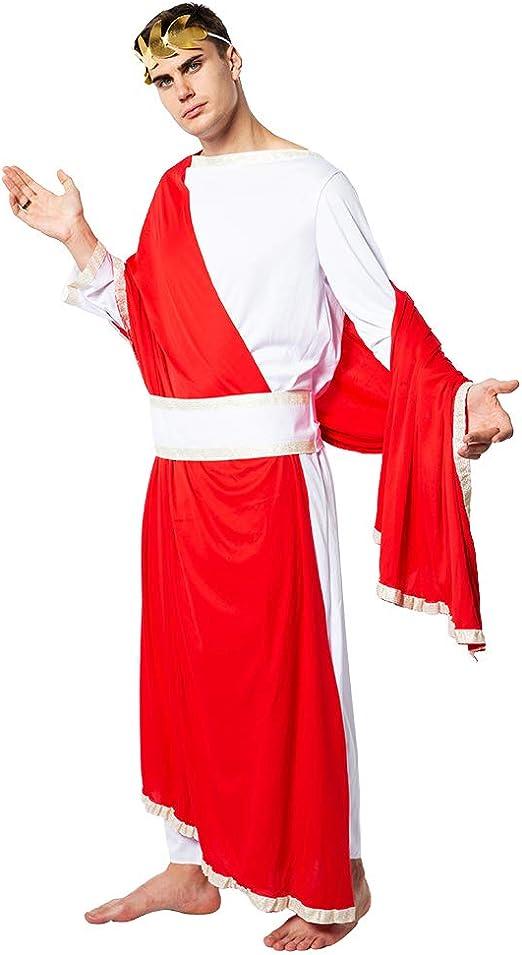 Da Uomo Senatore Romano Imperatore Cesare Rosso Toga Costume Vestito