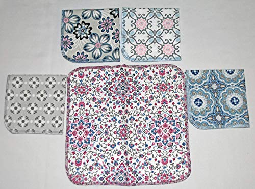 Flower Splash Printed Flannel Paperless Towels 1 Ply 12x12 Inches Set of 5