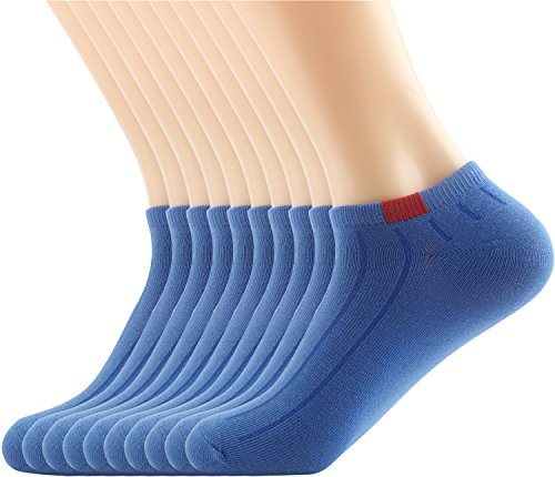 Areke Womens Rib Colorful Low Cut No Show Casual Anklet Socks, Comfortable Active Cool Soxs Color Royal Blue 10Pack Size A ()