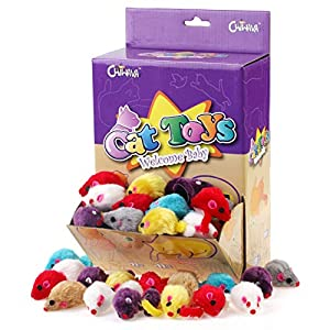 Chiwava 60PCS 4.1'' Furry Cat Toy Mice Rattle Small Mouse Kitten Interactive Play Assorted Color 15
