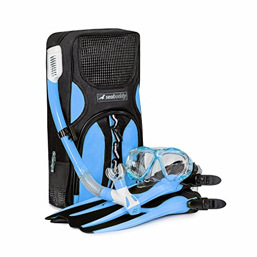 SealBuddy FIJI Panoramic Snorkel set ~ Adult and Junior Diving/Snorkeling Kit - Dry Top Snorkel, Trek Fin, Premium Travel Gear Bag, (Aqua/Blue, Large/XL Size 8 to 12)
