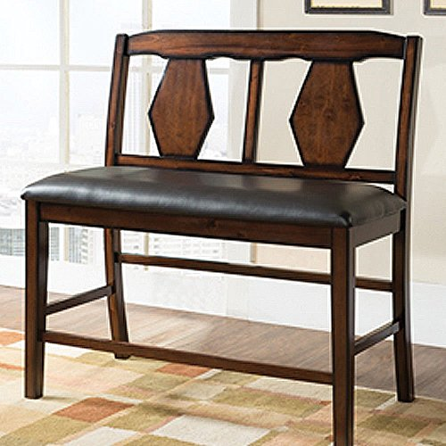 1PerfectChoice Napa Counter Height Dining PU Leather 2-Seater Bench Diamond Back Wood Espresso