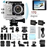 PINGKO F60 Action Camera 16MP FHD 1080P 4K Wi-Fi Waterproof Action Cam 2.0 LCD Screen, 170°Wide-Angle Lens DV Camcorder, 2 Rechargeable Batteries,Include Full Accessories Kits