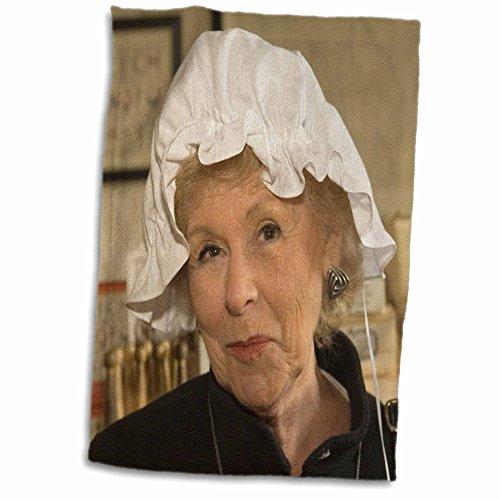 3dRose Danita Delimont - Virginia - Woman in hair bonnet, Williamsburg, Virginia - US47 JME0103 - John and Lisa Merrill - 12x18 Hand Towel (Colonial Costume Williamsburg)