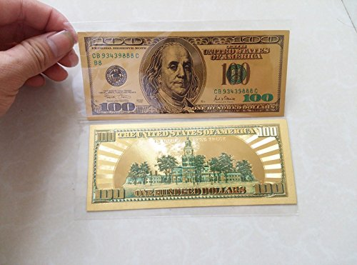 24K Gold Banknote Colorful USD 100 Dollar Bill 99.9 Gold Banknote Replica Paper Money Collectible Gifts (Dollar Note)