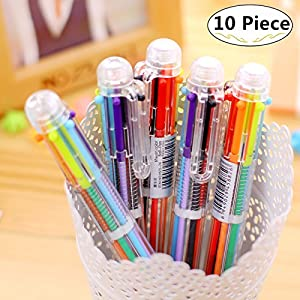 10 Pack Novelty Multicolor Ballpoint Pens, Magnolora Retractable Roller Ballpoint Pens Multifunction 8 In 1 Shuttle Pens, 8 Colors Highlighters Marker Pens Colorful Stationery Creative School Supplies