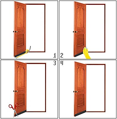 bajo puerta barrido Weather adhesiva para desmontar de proyecto de puerta, puerta parte inferior de sellado para Bugs prueba insonorización y ahorro de energía,5cm de ancho x 100cm de longitud, blanco: Amazon.es: Bricolaje