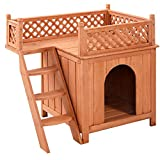 Giantex Wooden Puppy Pet Dog House Wood Room In outdoor Raised Roof Balcony Bed Shelter