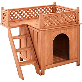 Giantex Wooden Puppy Pet Dog House Wood Room In/outdoor Raised Roof Balcony Bed Shelter