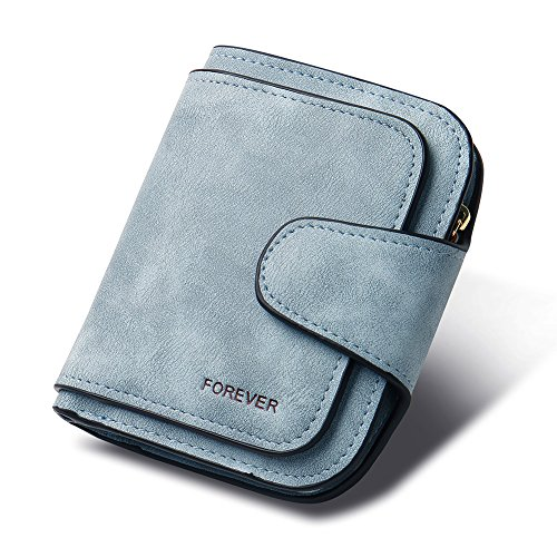 RFID Blocking Mattee Leather Wallet for Women Clutch Purse Bifold Small Compact Designer Ladies Multi Credit Card Holder Organizer with Coin Zipper Pocket blue ()