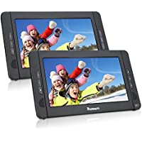 NAVISKAUTO 10.1 Dual Screen DVD Player Ultra-thin TFT Screen Car Backseat Headrest Portable DVD Player-Black