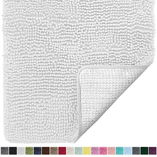 Gorilla Grip Original Luxury Chenille Bathroom Rug Mat, 60x24, Extra Soft and Absorbent Shaggy Rugs, Machine Wash Dry, Perfect Plush Carpet Mats for Tub, Shower, and Bath Room, White (Barn Pottery Bath Clearance Rugs)