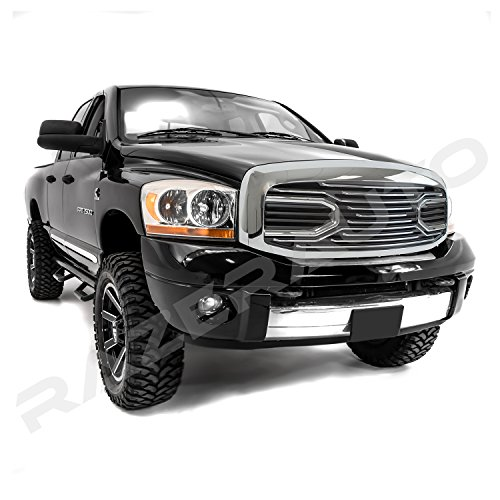 Razer Auto Chrome Big Horn Complete Grille Factory Replacement Grille w/Shell (Chrome) for 2006-2008 Dodge RAM 1500, 2006-2009 Dodge RAM 2500/3500