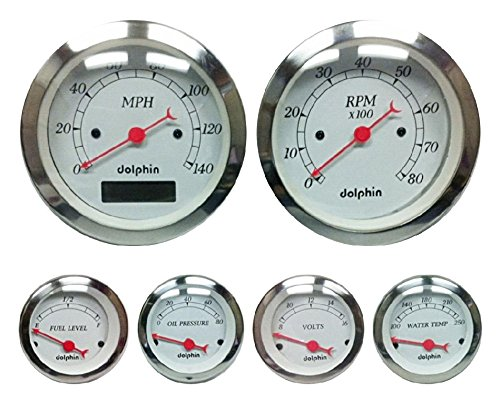 (Dolphin Gauges-6 Gauge Programmable Set - White)