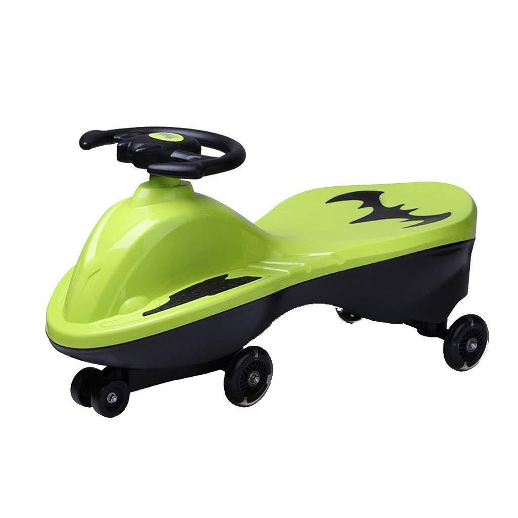 子ども用自転車 子供用スイングカー おもちゃの車 子供用スクーター ツイストカー 点滅ユニバーサルホイール 耐荷重88kg 1-3歳 ギフト (Color : Green, Size : 69.5*29*36CM) 69.5*29*36CM Green B07PKTVZRL