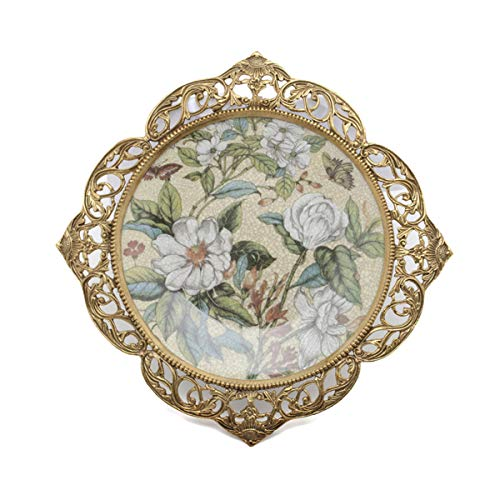 - Porcelain Decorative Plate Art Flower for Wall with Brass Handmade Carved Home