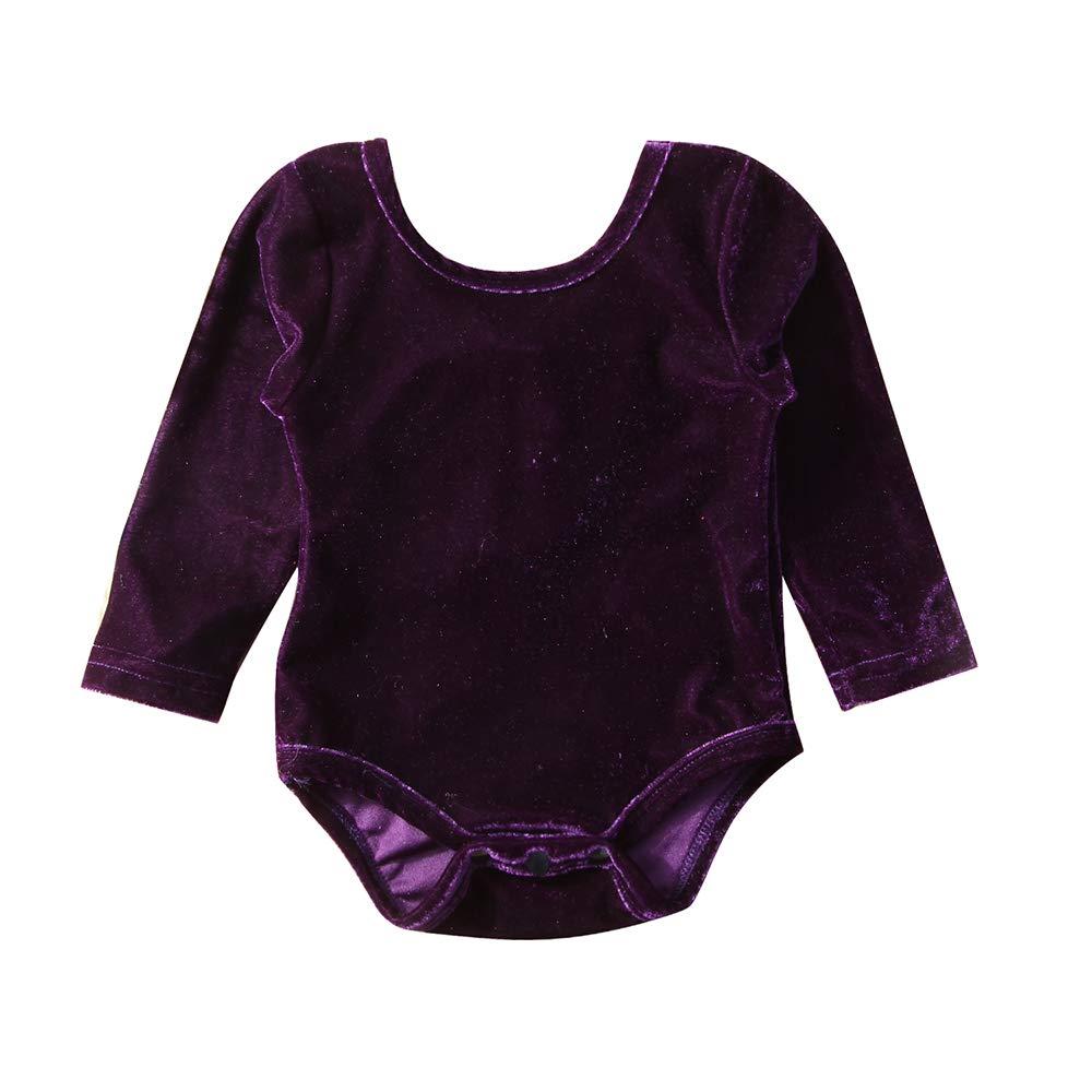 Bilo Store Baby Girls Long Sleeve Velvet Bowknot Backless Jumpsuit Outfits
