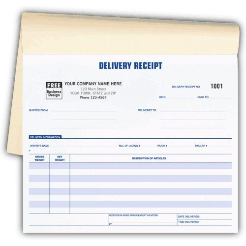 Delivery Receipt Booked Forms
