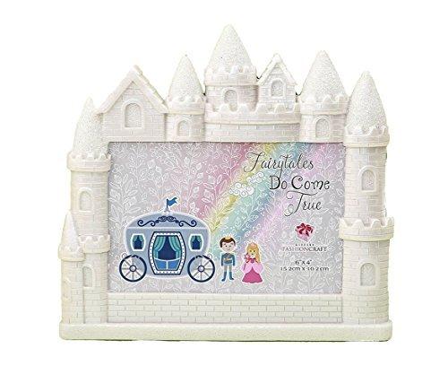 Mozlly White Fairytales Do Come True Castle Glitter Finish 4 x 6 Photo Frame - Nursery Decor - Item (Fairy Photo Frame)