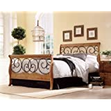 Dunhill Fashion Sleigh Bed with Frame with Autumn Brown and Honey Oak Finish, Queen