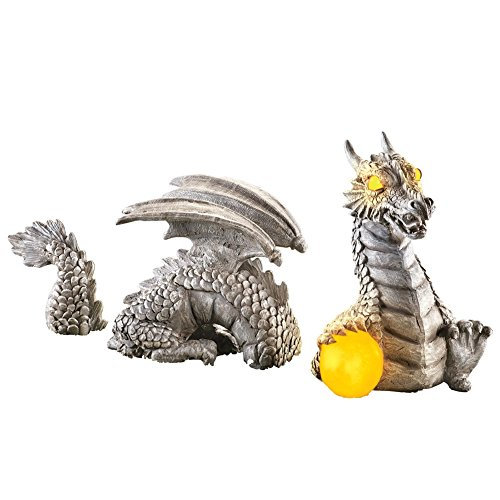 Outdoor Decorations Dragon Statue With Solar Powered Outdoor Lights,  Garden, Yard, Porch, Patio, Stone Gray Color