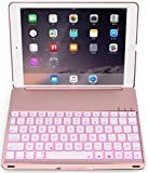 iPad Pro 9.7 keyboard case iPad Air 2 Keyboard Bluetooth Protective Folio Keyboard Cover with Auto Sleep Wake 7 Colors Backlit Aluminum 500mAh Battery for iPad Pro 9.7 iPad Air 2 (Rose Gold)